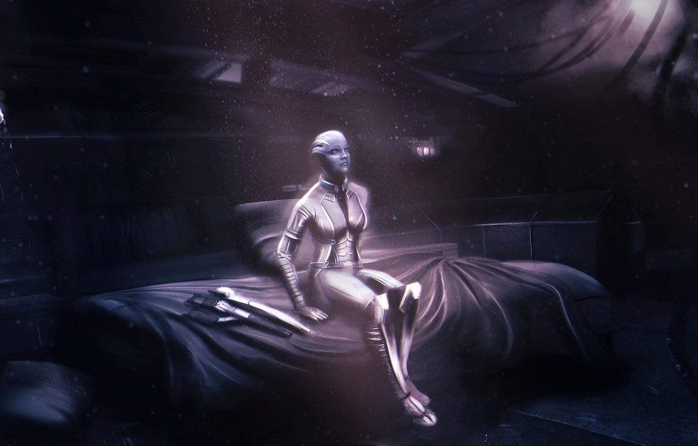 Фото обои Mass Effect, normandy, cabin, asari, Liara T'Soni