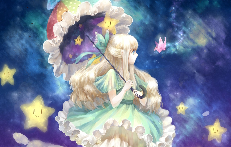 Фото обои девушка, звезды, облака, зонт, арт, бантик, оригами, cea