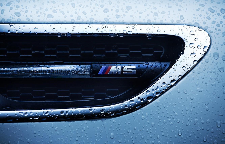 Фото обои капли, макро, бмв, BMW M5