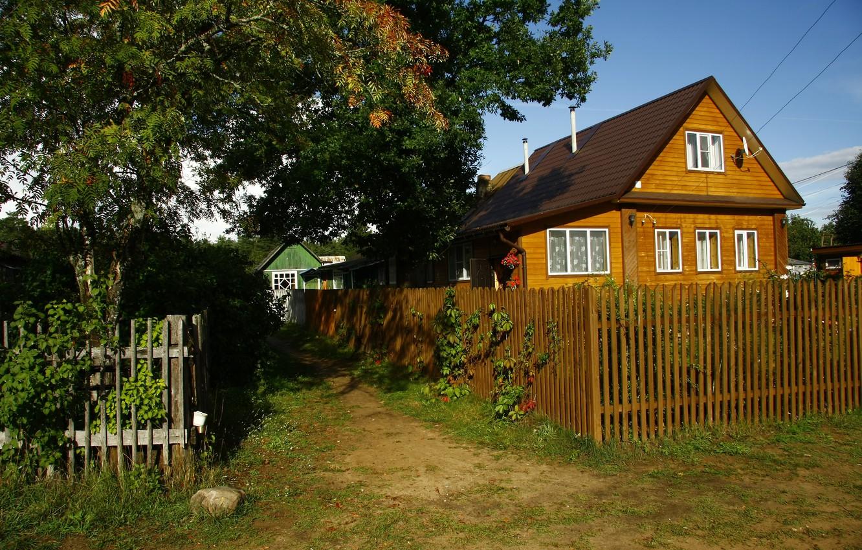 Фото обои природа, дом, фон, обои, забор, деревня, картинка