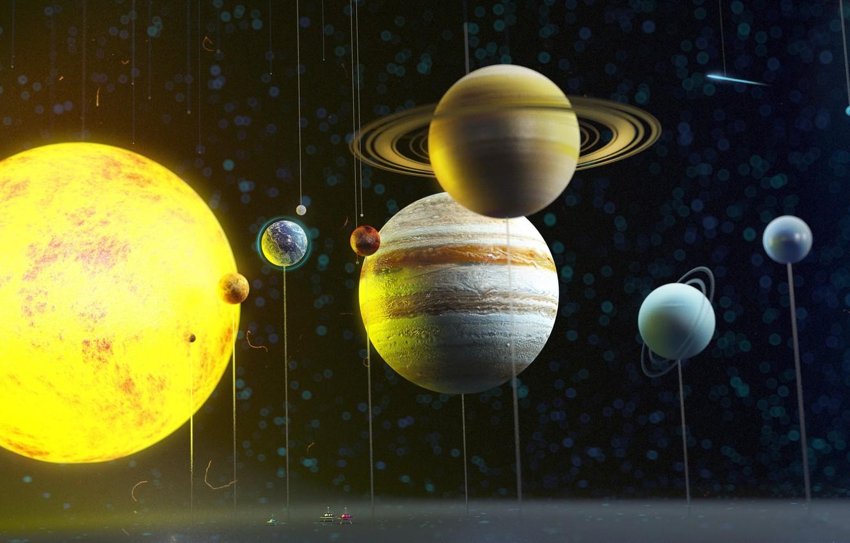 Фото обои космос, планеты, солнечная система, art