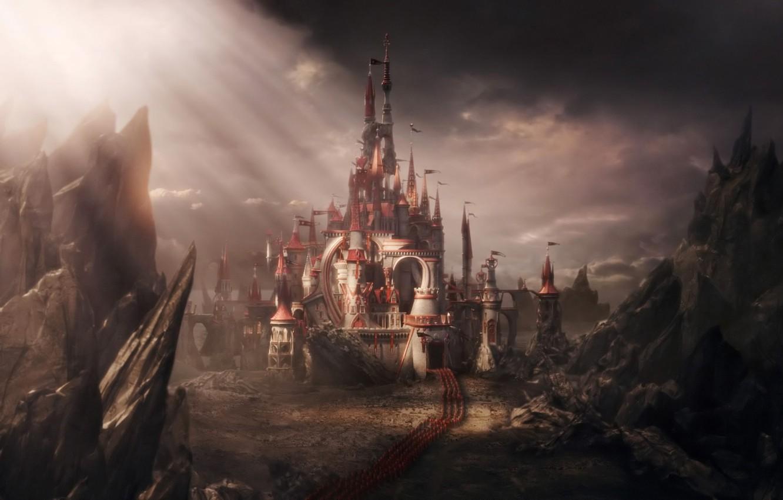 Фото обои замок, сказка, армия, алиса в стране чудес
