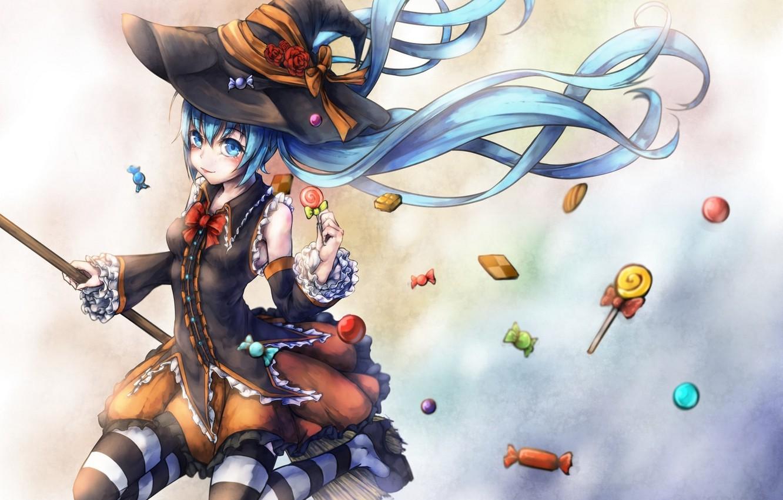 Фото обои язык, девушка, праздник, чулки, шляпа, аниме, арт, конфеты, ведьма, метла, vocaloid, hatsune miku, halloween, kajaneko