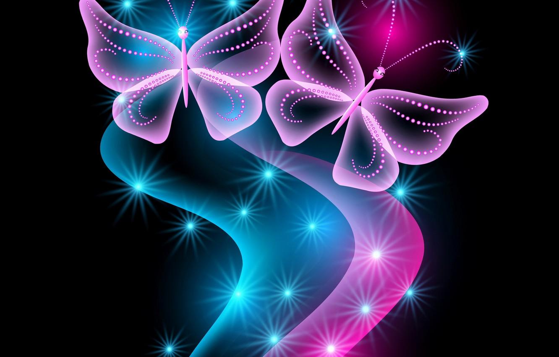 Обои sparkle, butterflies, Abstract, неоновые, Purple, glow. Абстракции foto 14