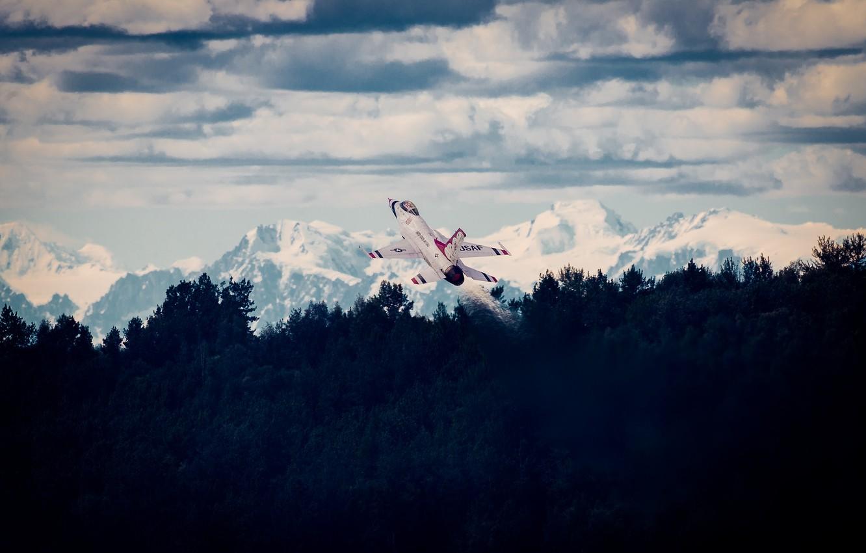 Обои Самолёт, fighting falcon, вираж, истребитель, Пейзаж. Авиация foto 18