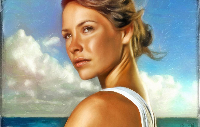 Фото обои море, рисунок, портрет, арт, Lost, Evangeline Lilly, Остаться в живых, Эванджелин Лилли, Kate Austen