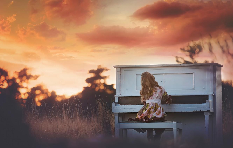 Фото обои девочка, пианино, Sunset Piano
