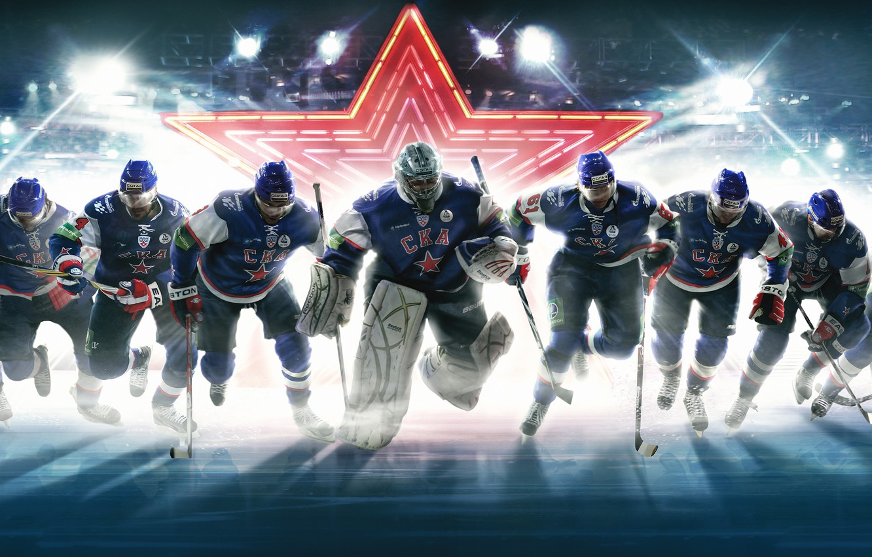 Фото обои звезда, команда, вратарь, Хоккей, Hockey, Политпроект, СКА, SKA, хоккеисты