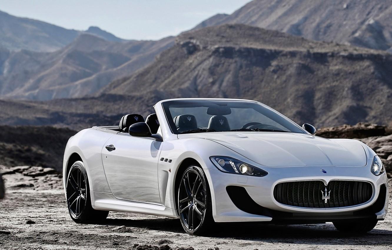 Фото обои Maserati, Горы, Белый, Кабрио, Мазерати, Car, Автомобиль, White, GranCabrio, 2014, Гран