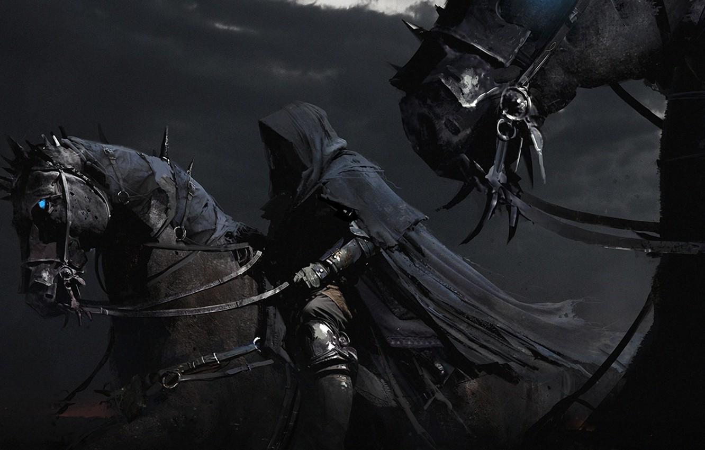 Фото обои конь, чёрный, всадник, плащ