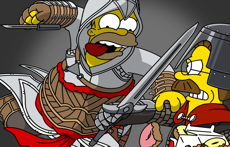 Фото обои Симпсоны, Гомер, Art, Assassin's Creed, Homer Simpson, Ned Flanders