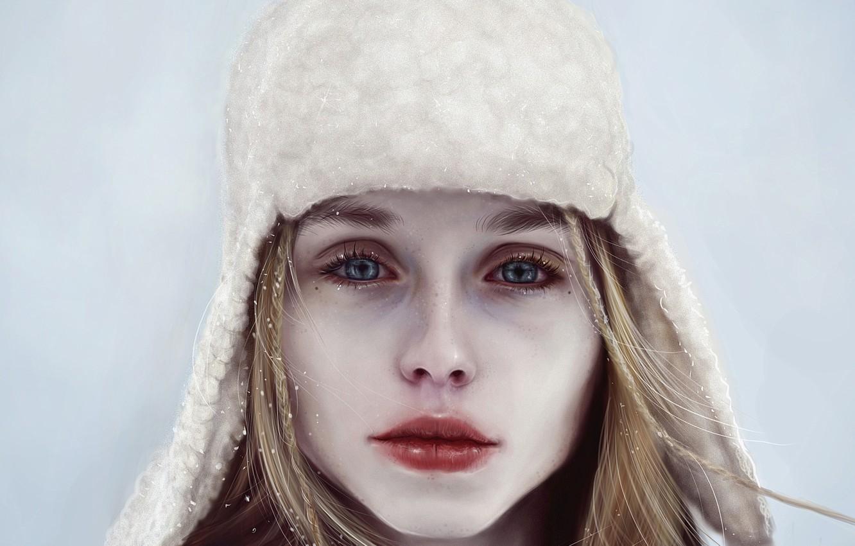 Фото обои зима, взгляд, девушка, снег, лицо, шапка, арт, губы