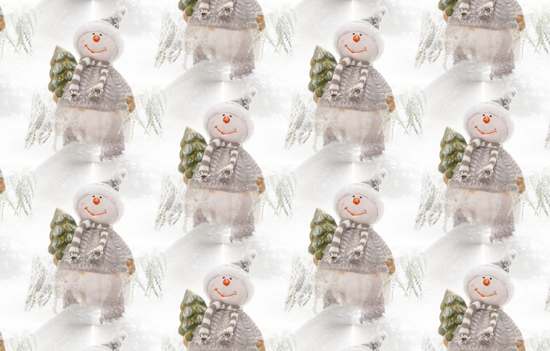 Фото обои фон, праздник, текстура, Новый год, снеговик