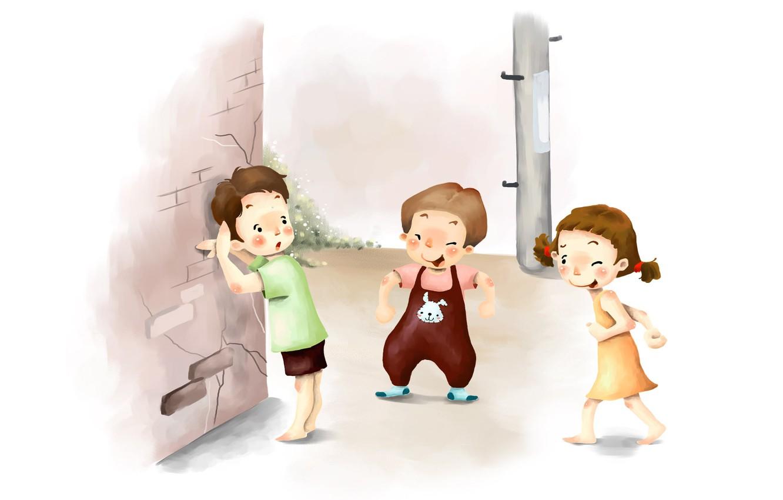 Фото обои дети, рисунок, смех, прятки, косички, веселье, шалости