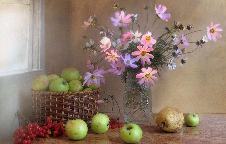 Фото обои осень, цветы, ягоды, яблоки, букет, фрукты, натюрморт, композиция, калина, космея, ноябрь