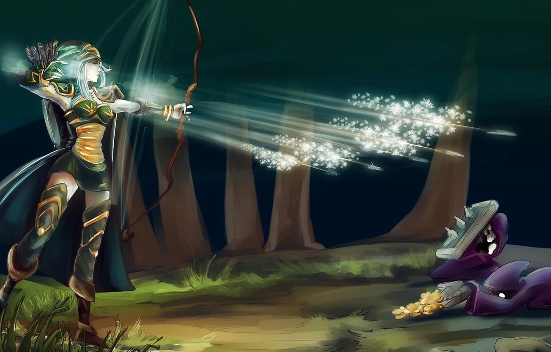 Фото обои холод, лес, девушка, снежинки, золото, лук, арт, нападение, стрелы, league of legends, ashe, nfouque