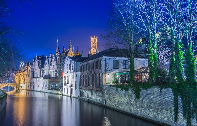 Обои канал, бельгия, брюгге, дома, ночь. Города foto 16