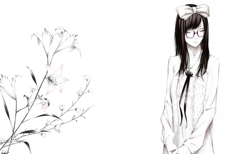 Фото обои цветы, рисунок, лилии, Девушка, очки, бант, art, Sawasawa