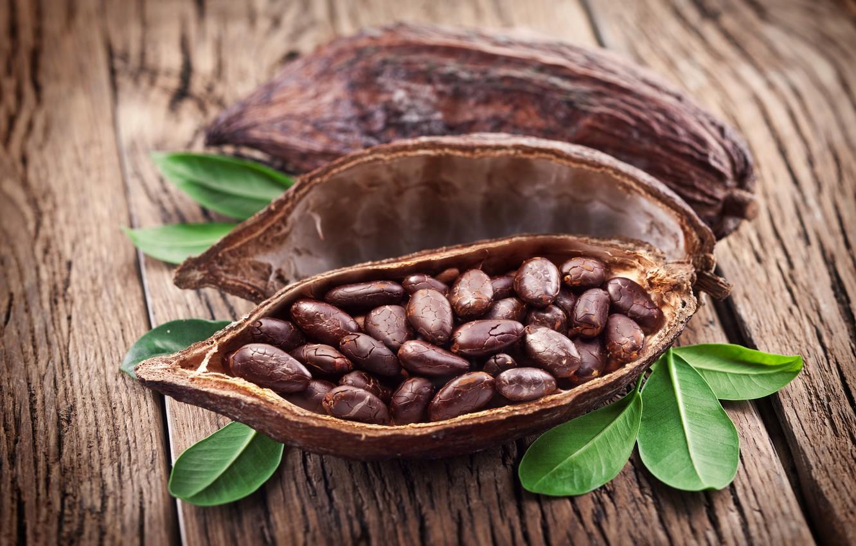 Фото обои листья, кожура, какао бобы