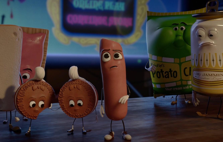 Фото обои мультфильм, 2016, sausage party, полный расколбас