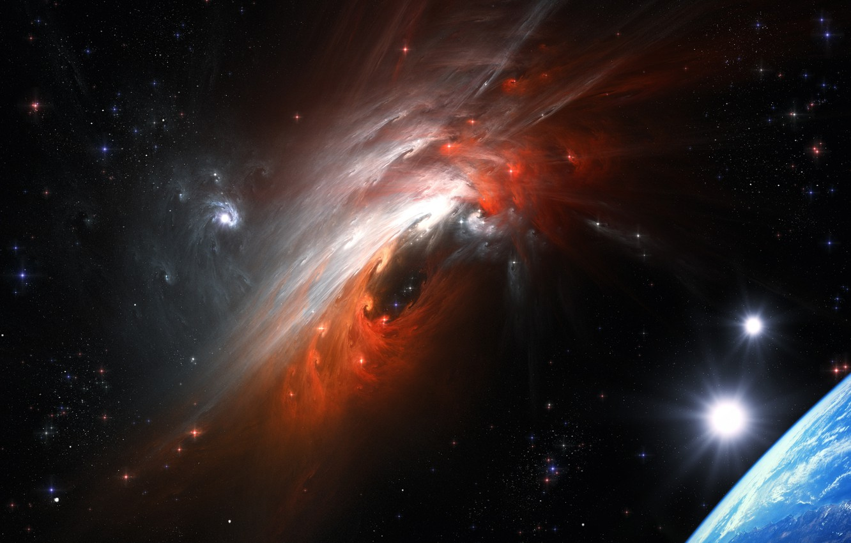 Фото обои Cosmic Storm, столкновение галактик, космический шторм