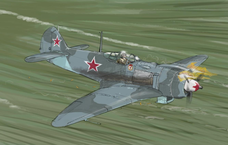 Фото обои Рисунок, Самолет, Истребитель, Авиация, La-5FN