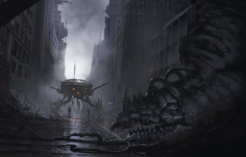 Фото обои дорога, будущее, фантастика, улица, здание, монстр, существо, арт, цепи, Sci Fi, разрушенные