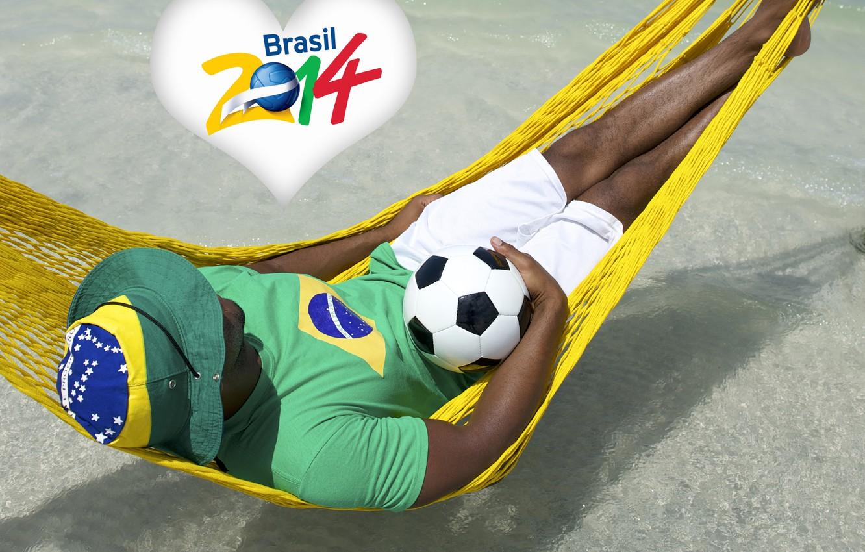 Фото обои logo, man, football, flag, World Cup, Brasil, FIFA, hammock