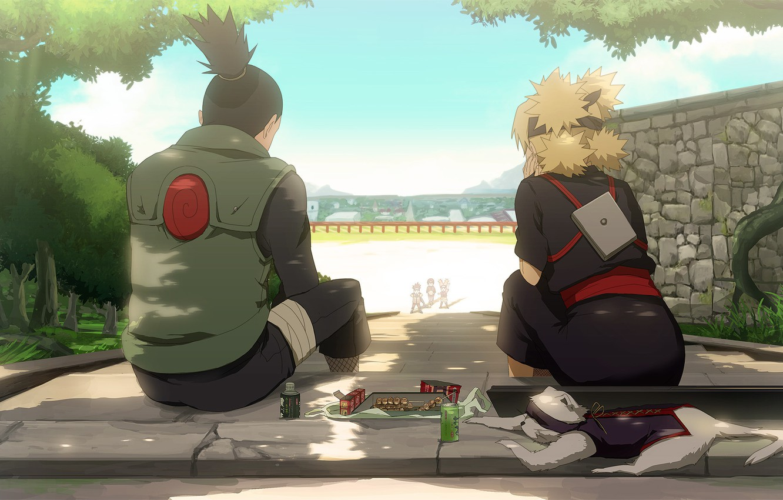 Фото обои naruto, anime, art, Temari, Shikamaru, weasel, konohagakure no sato