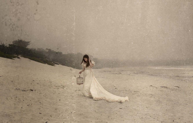 Фото обои пляж, стиль, Девушка, клетка, платье, шатенка