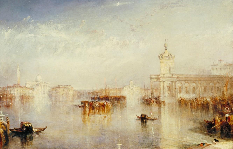Фото обои море, дома, картина, лодки, Venice, городской пейзаж, Уильям Тёрнер, Dogano, San Giorgio, Citella from the …