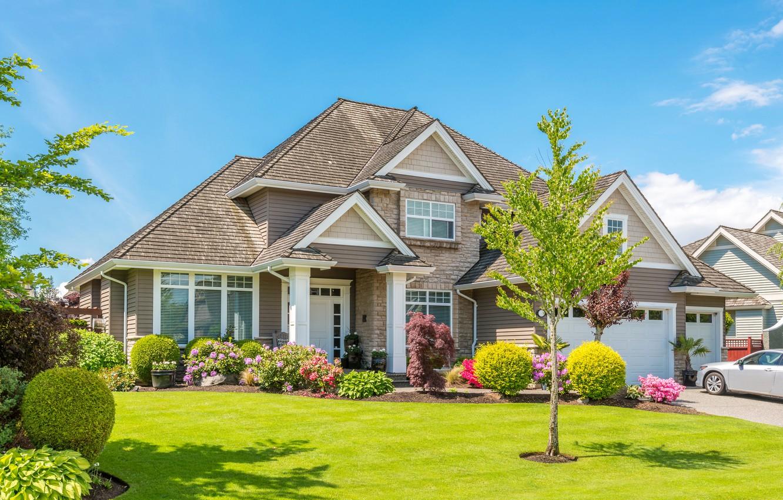 Фото обои зелень, трава, деревья, цветы, дизайн, дом, газон, особняк, клумбы