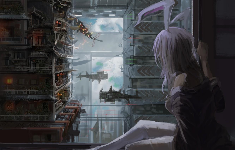 Фото обои небо, девушка, облака, город, дома, корабли, арт, сидит, ушки, touhou, reisen udongein inaba, du xiedai …