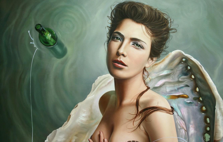 Фото обои вода, девушка, бутылка, рука, раковина, арт, Christiane Vleugels