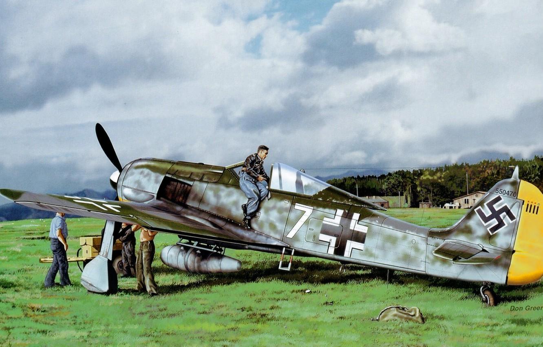 Обои painting, don greer, german fighter, Fw 190, aviation, war, ww2. Авиация foto 6