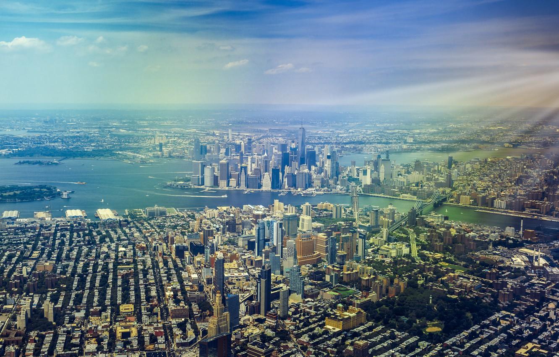 Фото обои дома, Нью-Йорк, небоскребы, панорама, мегаполис, вид сверху