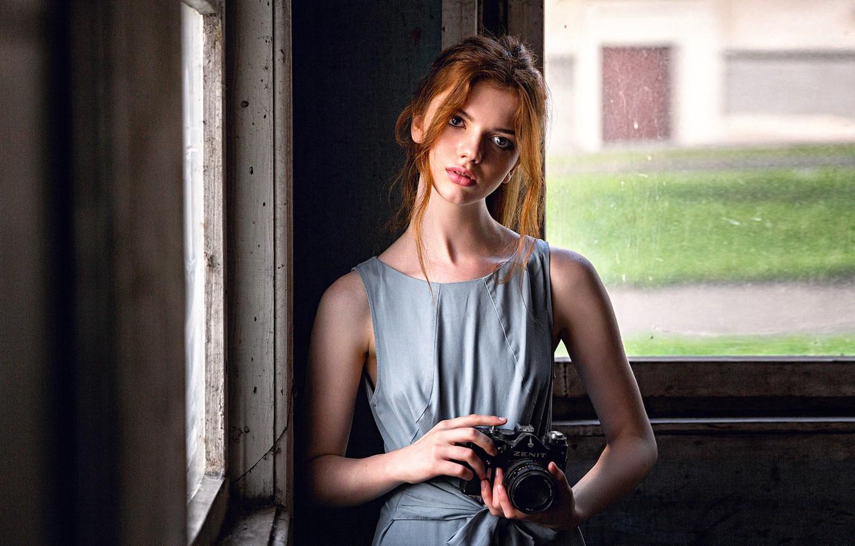 Фото обои девушка, Зенит, фотоаппарат, Катя