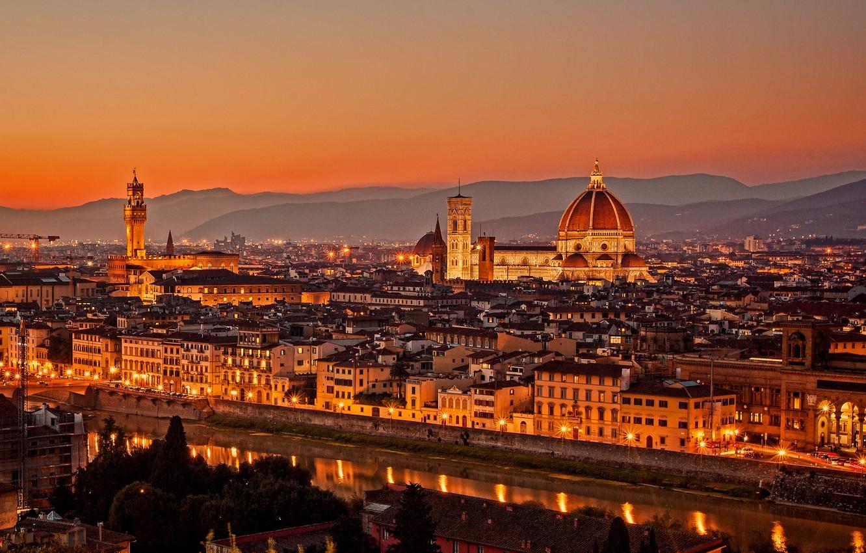 Фото обои закат, мост, город, огни, вид, здания, дома, вечер, Италия, панорама, собор, Флоренция, архитектура, Italy, Тоскана, …