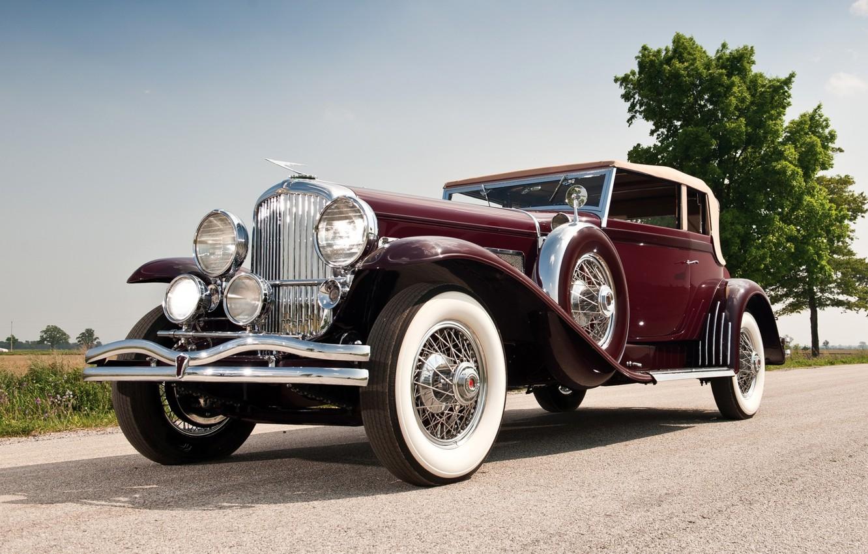 Фото обои небо, ретро, передок, 1931, красивая машина, Convertible, SJ 272 2293, by Rollston, Duesenberg, Victoria, Дюзенберг