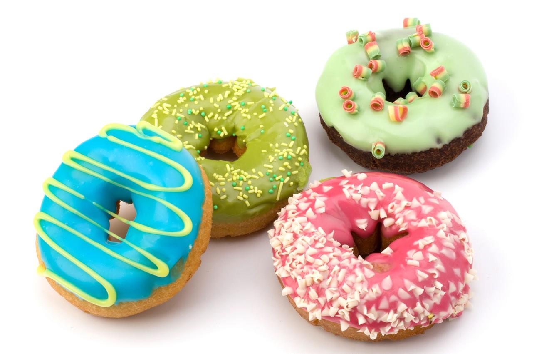 Фото обои шоколад, пончики, сдоба, десерт, выпечка, сладкое, chocolate, глазурь, крошка, dessert