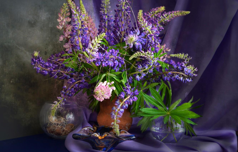 Фото обои фиолетовый, букет, текстура, люпин
