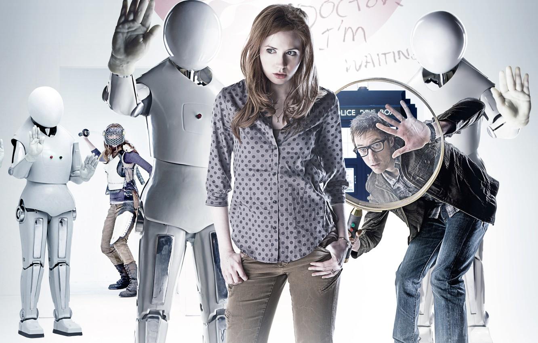 Фото обои роботы, сериал, Doctor Who, Доктор Кто, Эми, Amy Pond, Карен Гиллан, Karen Gillan, Эми Понд, ...