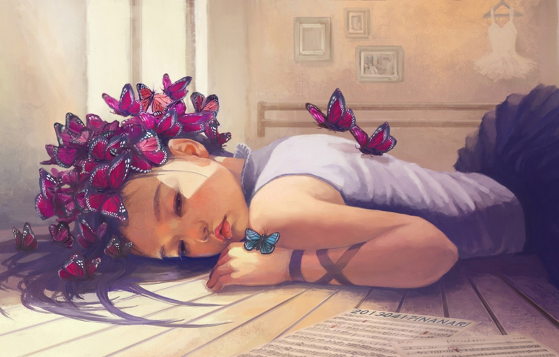 Фото обои девушка, бабочки, ноты, платье, арт, листы, картины, лежит, вешалка, osame