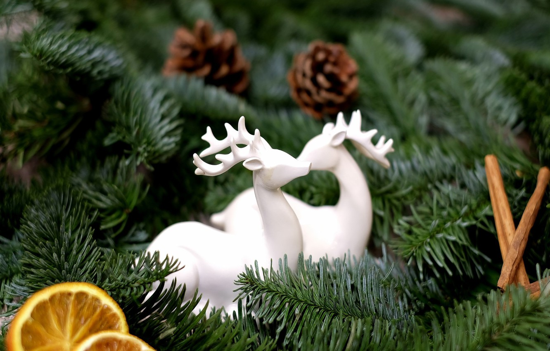Фото обои праздник, игрушки, новый год, апельсин, рождество, ёлка, корица, олени, хвоя, шишки, дольки