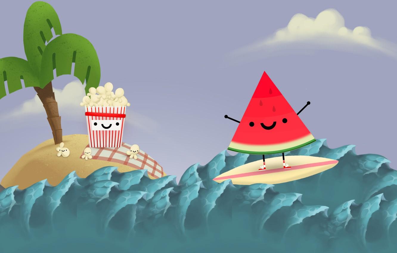 Фото обои море, волны, небо, остров, акула, арбуз, sky, sea, island, попкорн, shark, wave, Steam, watermelon, surfboard, …