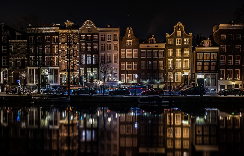 Обои канал, нидерланды, дома, ночь. Города foto 11