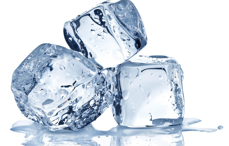 Фото обои лед, вода, капли, кубики, белый фон