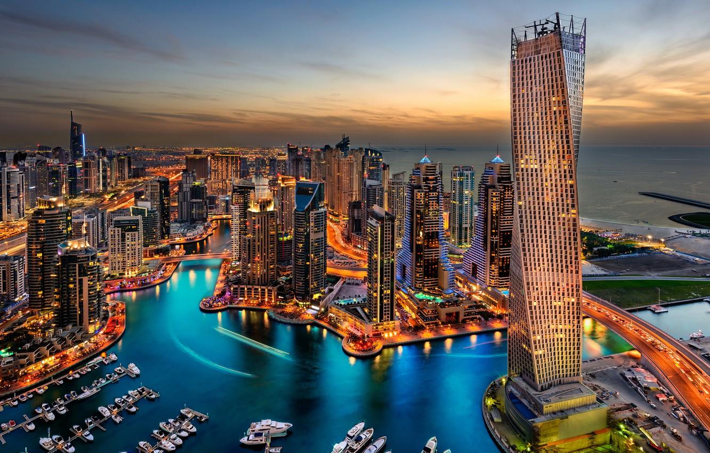 Фото обои city, lights, Дубаи, Dubai, night, hotel, skyscrapers, building, harbour, travel, splendor, arab emirates