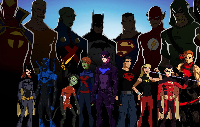 Фото обои Wonder Woman, Batman, heroes, Robin, Superman, dc comics, Green Arrow, Flash, Aquaman, Nightwing, Martian Manhunter, …