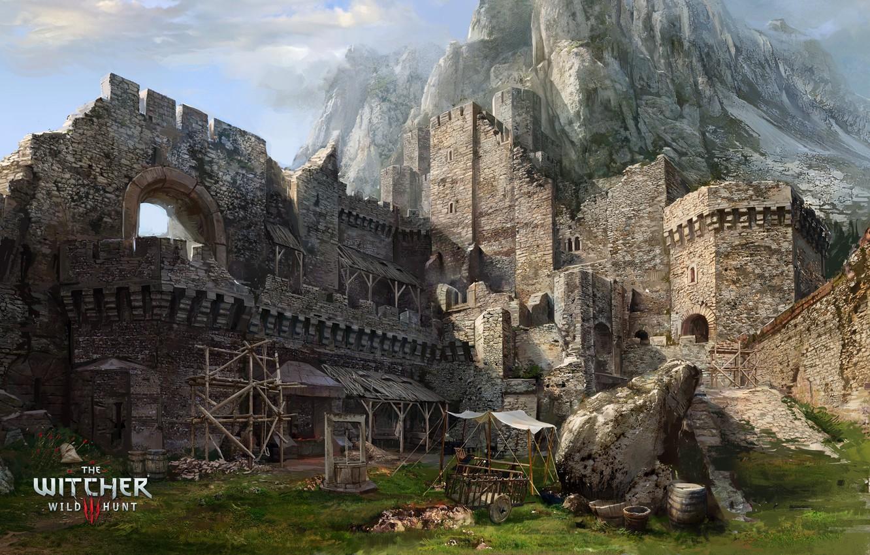 Фото обои гора, колодец, крепость, Ведьмак, The Witcher 3 Wild Hunt, Каэр Морхен
